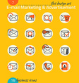 Business icon set e-mail marketing advertisement vector