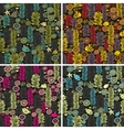 Set of colorful seamless patterns with flowers vector