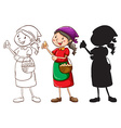 A sketch of a female vendor in different colors vector