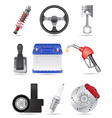 Set icons of car parts vector