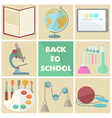 Set of nine school related flat icons vector