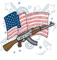 American flag and gun vector