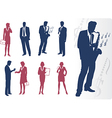 Businessmen and businesswomen silhouettes vector