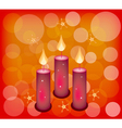 Three candles on a red abstract background vector