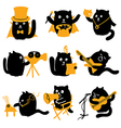 Set of black cats creative professions vector