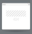 Flat browser window with page 404 vector