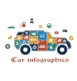Colorful puzzle car infographic vector