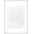 Lined paper with curled corner vector