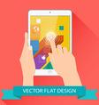 Male hands holding tablet flat design vector