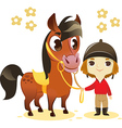 Child stand with small horse vector