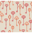 Seamless pattern with cute vintage keys vector