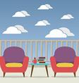 Empty sofa interior set at balcony vector
