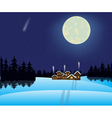Winter night and village in wood vector