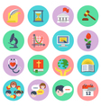 Modern flat school icons set vector