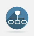 Server network circle blue icon with shadow vector