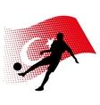 Turkey soccer player against national flag vector