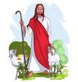 Jesus is a good shepherd vector