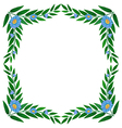 A frame made of green plants with flowers vector