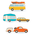 Vintage caravans and cars vector