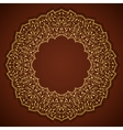 Lace gold round ornament with leaves vector
