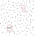 Seamless pattern with cats and footprint vector