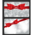 Holiday gift cards with red bow ribbon and place vector