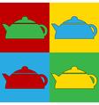 Pop art kettle icons vector