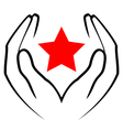 Icon - hands holding red star vector