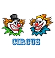Colorful circus clowns characters vector
