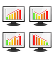 Computer monitors with graphs vector