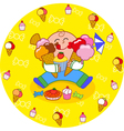 Boy eating sweets vector