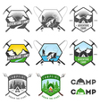 Set of vintage camping labels and badges vector