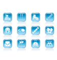 Ski and snowboard equipment icons vector