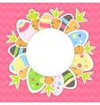Eastern carrots and eggs pattern on a pink vector