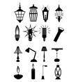 Light bulb lamps icons set vector
