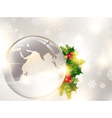 Christmas holiday background with world globe vector