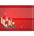 Red background of gift boxes on fir twigs vector