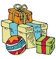 Boxes with gifts and ball vector
