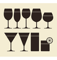 Silhouette of drinking glasses vector