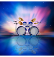 Abstract music blue background with drum kit and vector