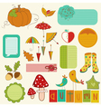 Autumn cute elements set vector