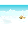 Winter landscape with house mountain and firs vector
