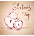 Valentine sketch card with two hearts vector