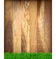 Wooden boards with green grass vector