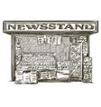 Newsstand hand drawn press kiosk vector
