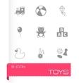 Black toys icon set vector