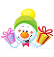 Snowman holding gift peep out through the blank vector