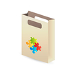 Paper bag with puzzle symbols vector