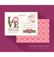 Cute valentine love postcard card design template vector
