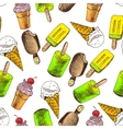 Doodle ice cream seamless background vector